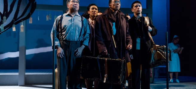 Gary Thomas Ng, Grace Yoo, Ron Domingo and Sam Tanabe in SpeakEasy Stage's production of ALLEGIANCE. Photo by Nile Scott Studios