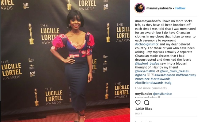 MaameYaa Boafo at the 33rd Annual Lucille Lortel Awards on May 6, 2018 in New York City. Photo: Instagram