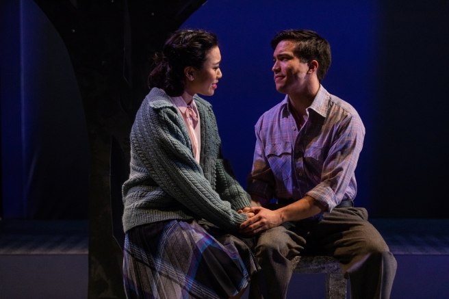 Grace Yoo and Tyler Simahk in SpeakEasy Stage's production of ALLEGIANCE. Photo by Nile Scott Studios