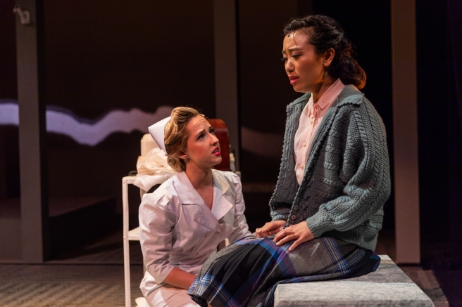 Melissa Geerloff and Grace Yoo in SpeakEasy Stage's production of ALLEGIANCE. Photo by Nile Scott Studios