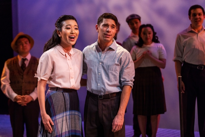 Grace Yoo and Sam Tanabe in SpeakEasy Stage's production of ALLEGIANCE. Photo by Nile Scott Studios