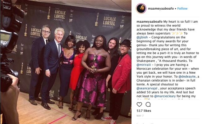 """School Girls"" representing at the 33rd Annual Lucille Lortel Awards on May 6, 2018 in New York City. Photo: Instagram"