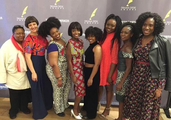 Myra Lucretia Taylor, Palmer Hefferan,Abena Mensah-Bonsu, MaameYaa Boafo, Paige Gilbert, Jocelyn Bioh, Zainab Jah and Dede Ayite at the Drama Desk Awards luncheon at Friedmans inside The Hotel Edison in New York on May 9, 2018. Photo: Facebook