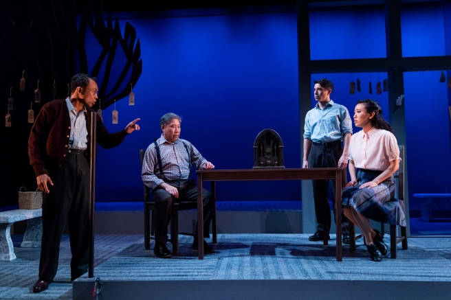 Ron Domingo, Gary Thomas Ng, Sam Tanabe and Grace Yoo in SpeakEasy Stage's production of ALLEGIANCE. Photo by Nile Scott Studios