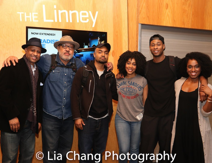 """Ruben Santiago-Hudson with his """"Paradise Blue"""" cast Keith Randolph Smith, Francois Battiste, Simone Missick, J. Alphonse Nicholson and Kristolyn Lloyd after an alumni preview performance at Signature Theatre in New York on May 6, 2018. Photo by Lia Chang"""
