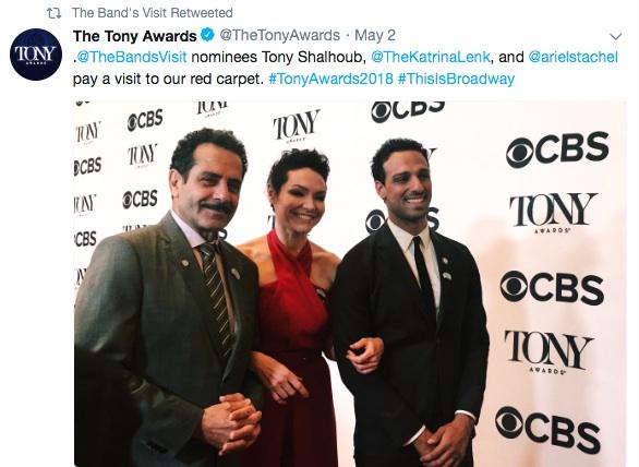 Tony nominees Tony Shalhoub, Katrina Lenk and Ari'el Stachel on The Tony Awards red carpet in New York on May 2, 2018. Photo: Instagram