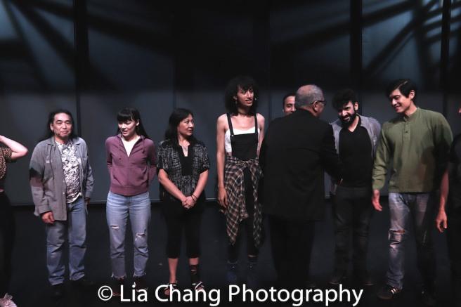Playwright N. Riantiarno meets actors Aaron L. Morishita, Megan Masako Haley, Debbie Christine, Jorja Brown, Frank Licari, Sevan Greene, Paolo Montalban. Photo by Lia Chang