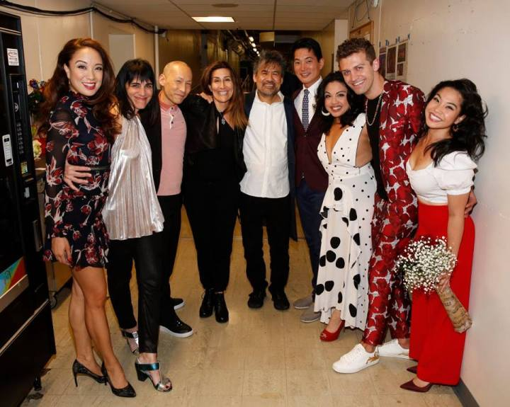 """Leigh Silverman, cast member Francis Jue, creators Jeanine Tesori and David Henry Hwang, cast members Austin Ku and Maria-Christina Oliveras, choreographer Sam Pinkleton and cast member Geena Quintos backstage after the opening night performance of the world premiere of David Henry Hwang and Jeanine Tesori's """"Soft Power"""" at Center Theatre Group. 📷: Ryan Miller/Capture Imaging"""