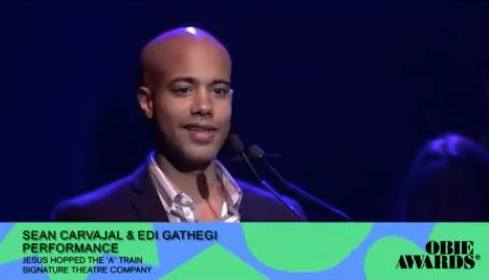 Sean Carvajal receives the 2018 Obie Award for Performance at the 63rd Annual Obie Awards® on May 21 at Terminal 5 in New York. Photo by Lia Chang