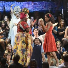 NEW YORK, NY - JUNE 10: Lea Salonga, Alex Newell Hailey Kilgore and the cast of Once on This Island perform onstage during the 72nd Annual Tony Awards at Radio City Music Hall on June 10, 2018 in New York City. (Photo by Theo Wargo/Getty Images for Tony Awards Productions)