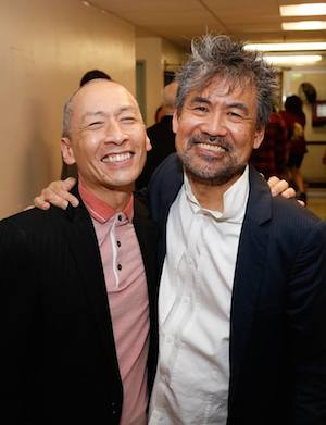 "From left, cast member Francis Jue and creator David Henry Hwang backstage after the opening night performance of the world premiere of David Henry Hwang and Jeanine Tesori's ""Soft Power"" at Center Theatre Group. 📷: Ryan Miller/Capture Imaging"