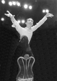 Francis Jue, as the Kit Kat Club emcee in the 1996 TheatreWorks production of CABARET. (Photo by David Allen)