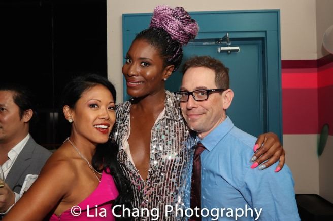 GETTIN' THE BAND BACK TOGETHER cast members J. Elaine Marcos, Jasmine Richardson, Garth Kravits at the ONCE ON THIS ISLAND Tony Party at Vida Verde in New York on June 10, 2018. Photo by Lia Chang