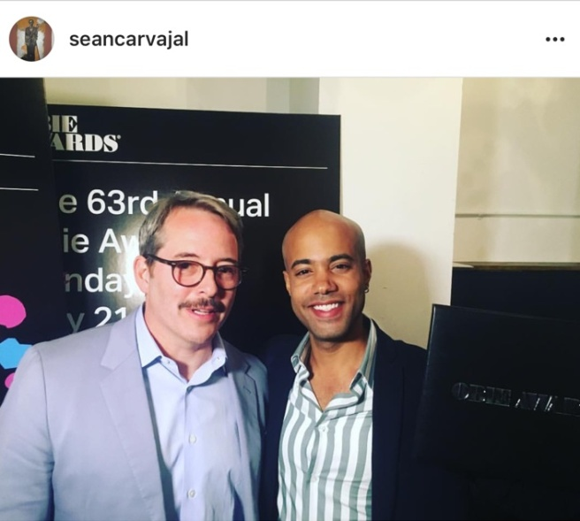 Matthew Broderick presented the 2018 Obie Award for Performance to Sean Carvajal at the 63rd Annual Obie Awards® on May 21 at Terminal 5 in New York. Photo: Instagram