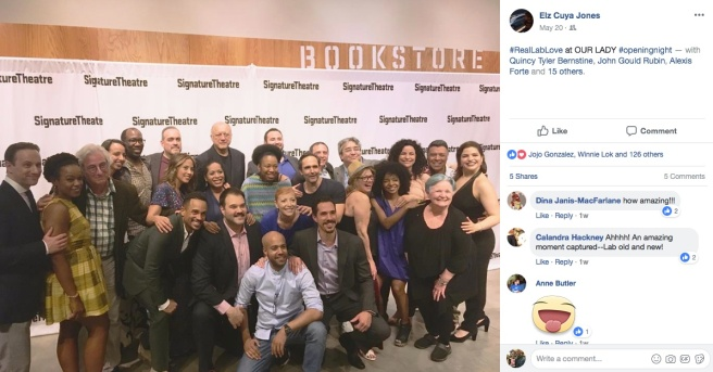 LAByrinth Theater Company celebrate the opening night of the revival of Our Lady of 121st St with Stephen Adly Guirgis and cast members at The Pershing Square Signature Center in New York on May 20, 2018. Photo courtesy of Elz Cuya Jones/Facebook