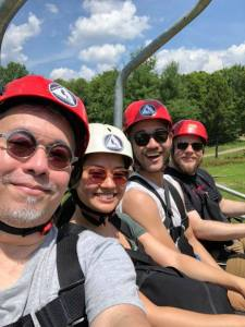 Ralph B. Peña, Geoff Boronda, Shannon Tyo and Daniel K. Isaac before ziplining.