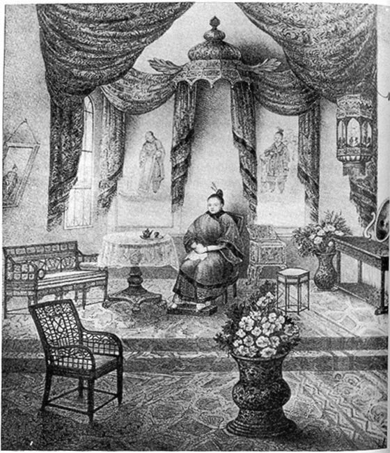 "From the source: ""Afong Moy in her 'room'. She is surrounded with 'exotic' Chinese items. The Carne Brothers had similar reproduction items for sale at the exhibition for viewers to remember their visit to the Chinese Lady."" Wikimedia Commons"