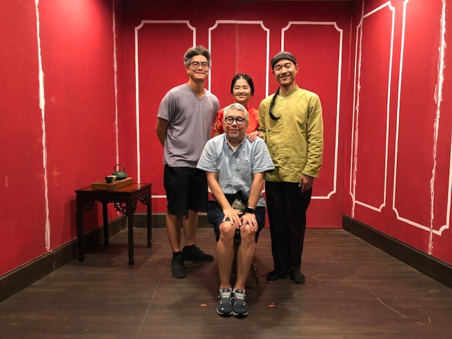 Lloyd Suh, Ralph B. Peña, Shannon Tyo and Daniel K. Isaac on the set of THE CHINESE LADY.
