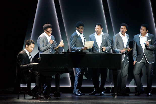 "The cast of Berkeley Repertory Theatre's production of ""Ain't Too Proud: The Life and Times of the Temptations"". (© Kevin Berne/Berkeley Repertory Theatre)"
