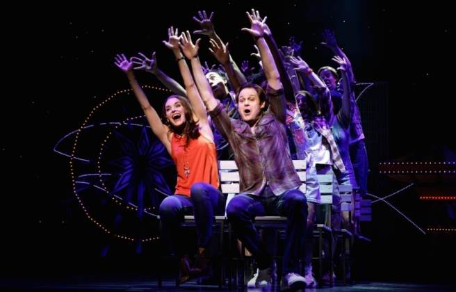 Kelli Barrett and Mitchell Jarvis and the company. Photo by Joan Marcus
