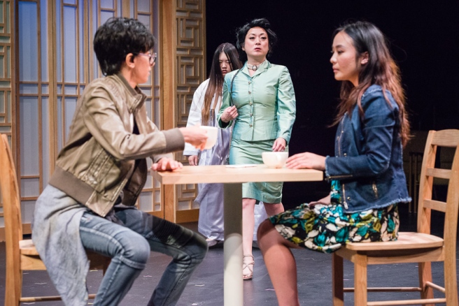 Khadija Siddiqui (Z) and Dexieng Yang (Gao Lee) with Mai See Lee (Ghost) and Katie Bradley (Evil Mom). Photo by Rich Ryan