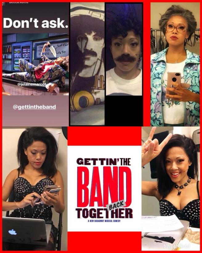 The many faces of J. Elaine Marcos in GETTIN' THE BAND BACK TOGETHER. Photo courtesy of Facebook