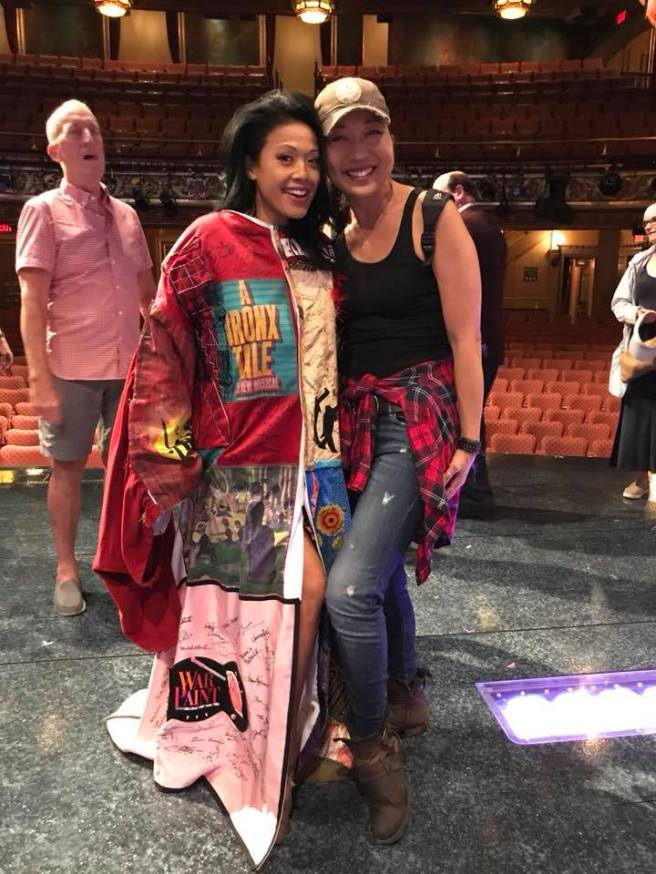 J. Elaine Marcos received the Legacy Robe prior to the opening night performance of GETTIN' THE BAND BACK TOGETHER at The Belasco Theatre in New York on August 13, 2018. She is pictured with Lainie Sakakura, another Robe recipient with whom she appeared in FLOWER DRUM SONG.