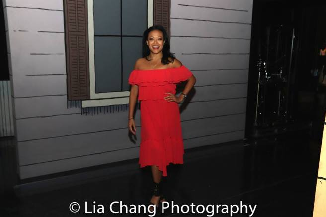 J. Elaine Marcos on the set of GETTIN' THE BAND BACK TOGETHER at The Belasco Theatre. Photo by Lia Chang