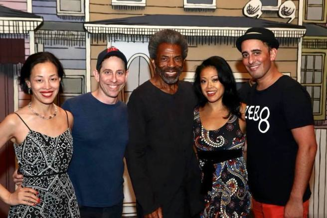 Lia Chang, Garth Kravits, Andre De Shields, J. Elaine Marcos and Nehal Joshi on the set of GETTIN' THE BAND BACK TOGETHER at The Belasco Theatre in New York.