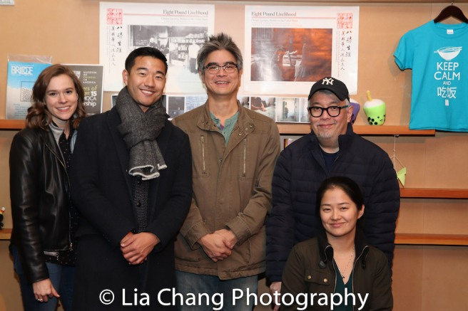 THE CHINESE LADY's ASM Erin McCoy, Daniel K. Isaac, Playwright Lloyd Suh, Director Ralph Pena and Shannon Tyo. Photo by Lia Chang