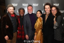 Musical Director and Vocal Arranger Liam Robinson, André De Shields, Patrick Page, Eva Noblezada, Reeve Carney and Co-Producer Mara Isaacs. Photo by Lia Chang