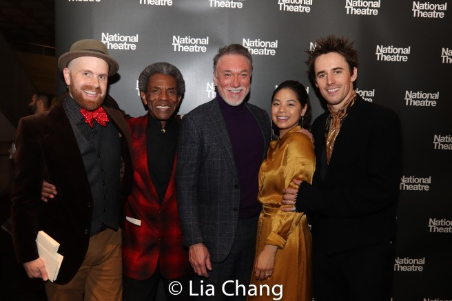 Musical Director and Vocal Arranger Liam Robinson, André De Shields, Patrick Page, Eva Noblezada, Reeve Carney. Photo by Lia Chang