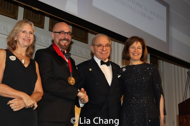 Louise Mirrer, President and CEO, New-York Historical Society, honoree Arthur A. Levine, Roger Hertog, Board Chair Emeritus New-York Historical Society, Pam Schafler, Chair, New-York Historical Society. Photo by Lia Chang