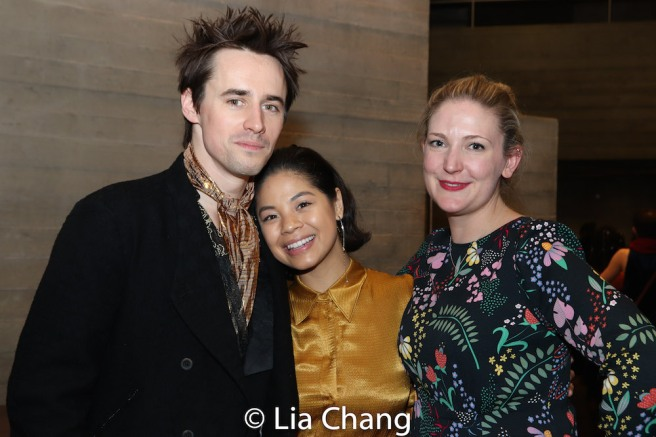 Reeve Carney, Eva Noblezada and Rachel Quinney, National Theatre's producer for HADESTOWN. Photo by Lia Chang
