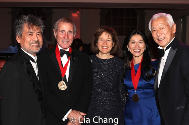 Playwright David Henry Hwang, honoree Jim Dale, Pam B. Schafler, Chair, New-York Historical Society, honoree Agnes Hsu-Tang and her husband Oscar Tang. Photo by Lia Chang