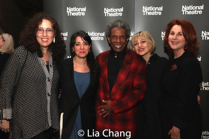 Co-Producer Mara Isaacs, Director Rachel Chavkin, André De Shields, Anais Mitchell and Co-Producer Dale Franzen at the opening party of HADESTOWN at the National Theatre in London on November 13, 2018. Photo by Lia Chang