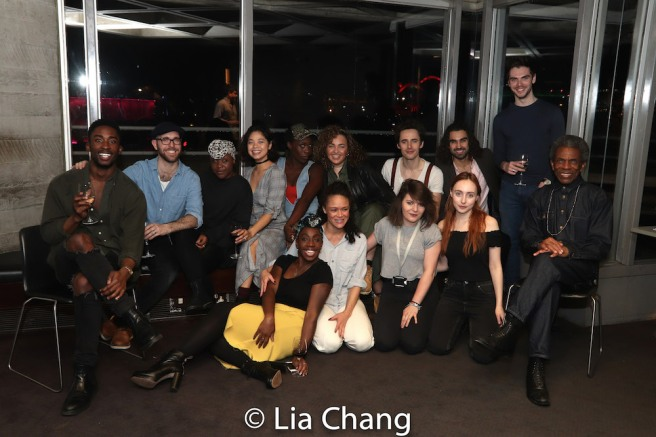 Cast members Jordan Shaw, Joseph Prouse, Seyi Omooba, Eva Noblezada, Gloria Onitiri, Aiesha Pease, Carly Mercedes Dyer, Amber Gray, Beth Hinton-Lever, Reeve Carney, Sharif Afifi, Josie Richardson and André De Shields. Photo by Lia Chang