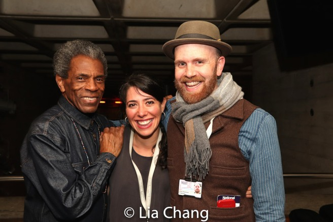 André De Shields, Director Rachel Chavkin and Music Director, Vocal Arranger Liam Robinson and Set Designer Rachel Hauck. Photo by Lia Chang