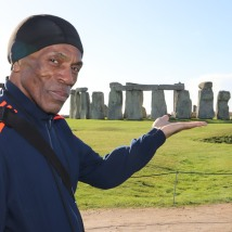 André De Shields visits Stonehenge on November 11, 2018. Photo by Lia Chang