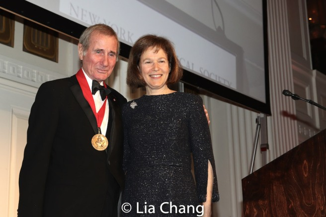 Honoree Jim Dale with his sister-in-law Pam B. Schafler, Chair, New-York Historical Society