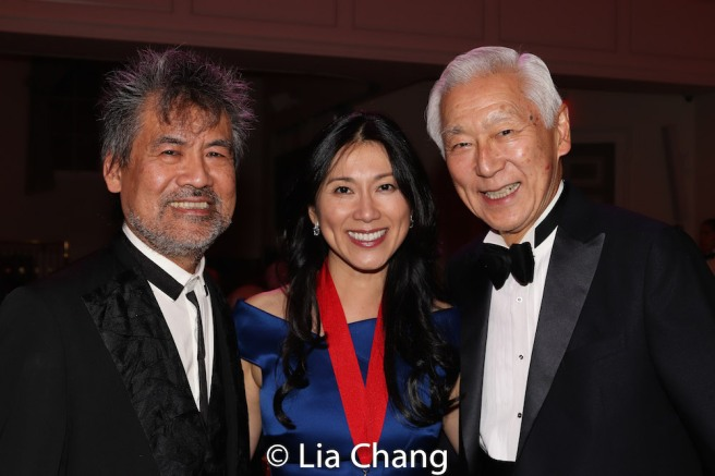 Playwright David Henry Hwang, honoree Dr. H.M. Agnes Hsu-Tang and her husband Oscar Tang. Photo by Lia Chang