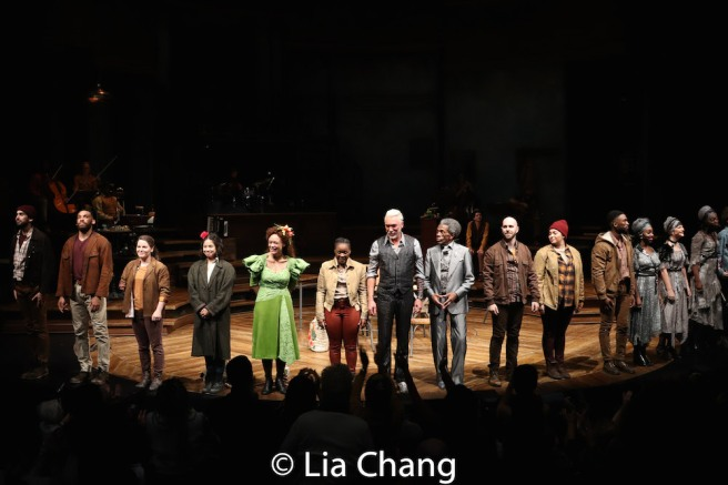 Hadestown Opening night curtain. Photo by Lia Chang