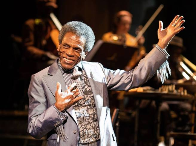 André De Shields as Hermes in HADESTOWN. Photo by Helen Maybanks
