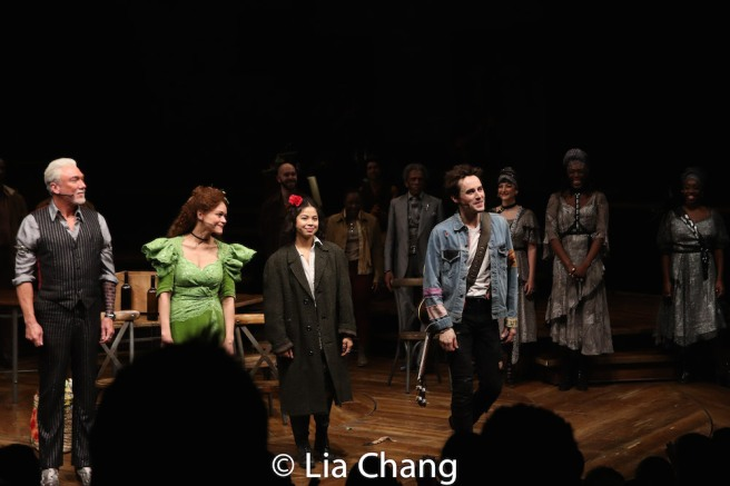 Patrick Page, Amber Gray, Eva Noblezada and Reeve Carney. Photo by Lia Chang