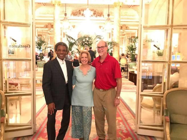 André De Shields, Liza Melamed and Ken Melamed at High Tea at The Ritz Carlton London.