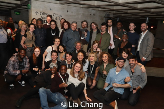 The cast and creative team of HADESTOWN with New York Theater Workshop sponsors. Photo by Lia Chang