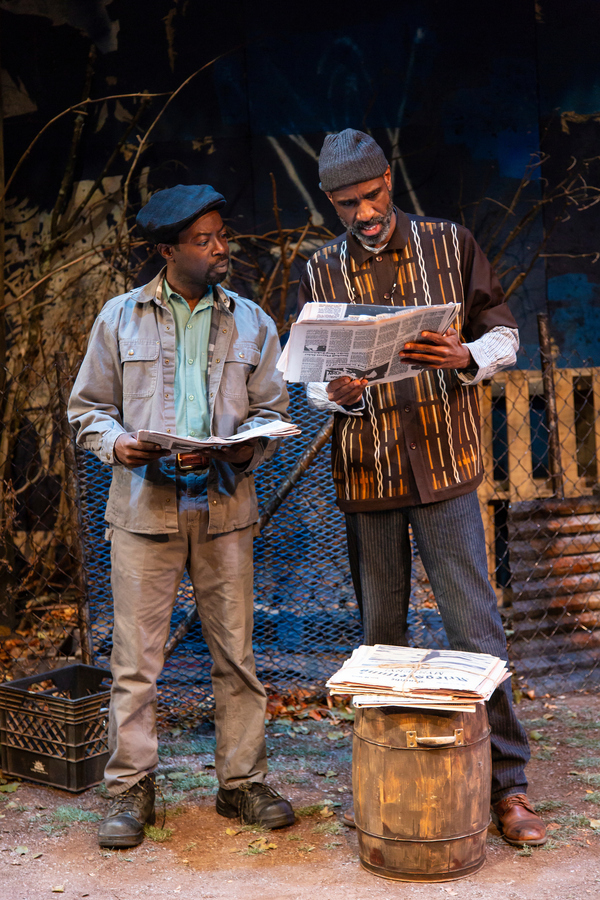 Charlie Hudson III (Mister) and Brian D. Coats (Stool Pigeon) in August Wilson's King Hedley II at Two River Theater. Photo Credit: T. Charles Erickson