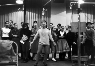 Pat Suzuki and cast of the Broadway production of FLOWER DRUM SONG. Photo Credit: Don Hunstein