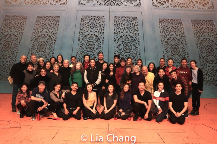 The company on the stage of The New Amsterdam Theatre in New York. Photo by Lia Chang