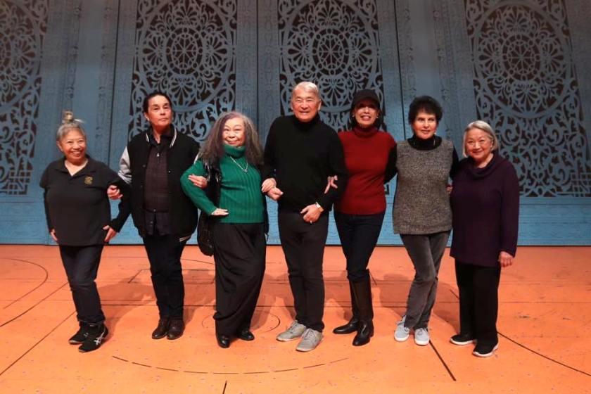 The Elders - Left to right Paula Chin, Victoria Racimo, Kumiko Nakagawa, Alvin Ing, Mae Wong, Carol Gordon Moora, Virginia Wing. Photo by Lia Chang